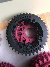Red / Black Anodized CNC Machining Parts for Bicycle Accessories / Toothed Wheel